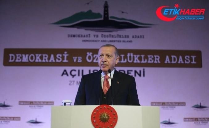 Cumhurbaşkanı Erdoğan: Demokrasi ve Özgürlükler Adası gönüllerdeki hasbi sevginin nişanesi olacak