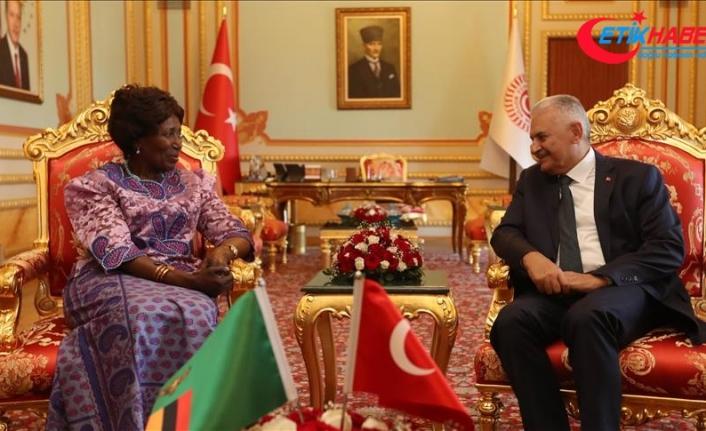 TBMM Başkanı Yıldırım Zambiya Cumhurbaşkanı Yardımcısı Wina'yı kabul etti