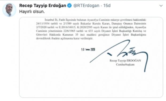 Ayasofya'nın ibadete açılmasına ilişkin Cumhurbaşkanı Kararı Resmi Gazete'de